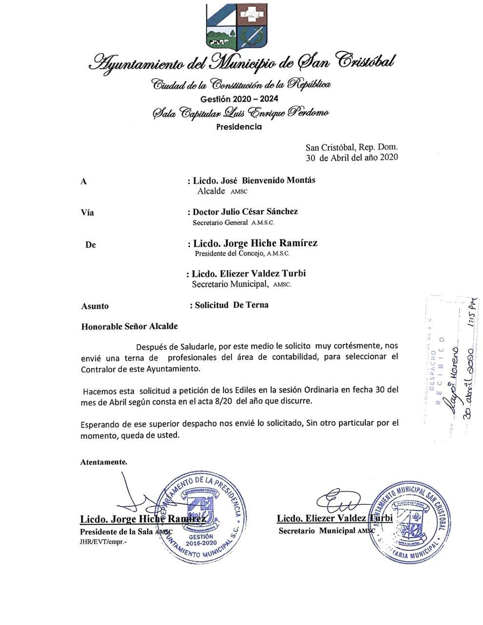 El Ayuntamiento Municipal de San Cristoballlama a concurso para seleccionar el Contralor General