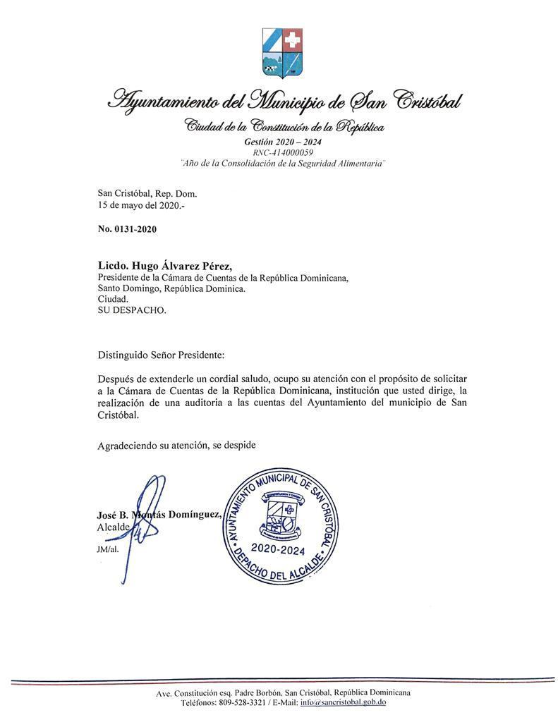 Alcalde José Montás solicita auditoria a la Cámara de Cuentas
