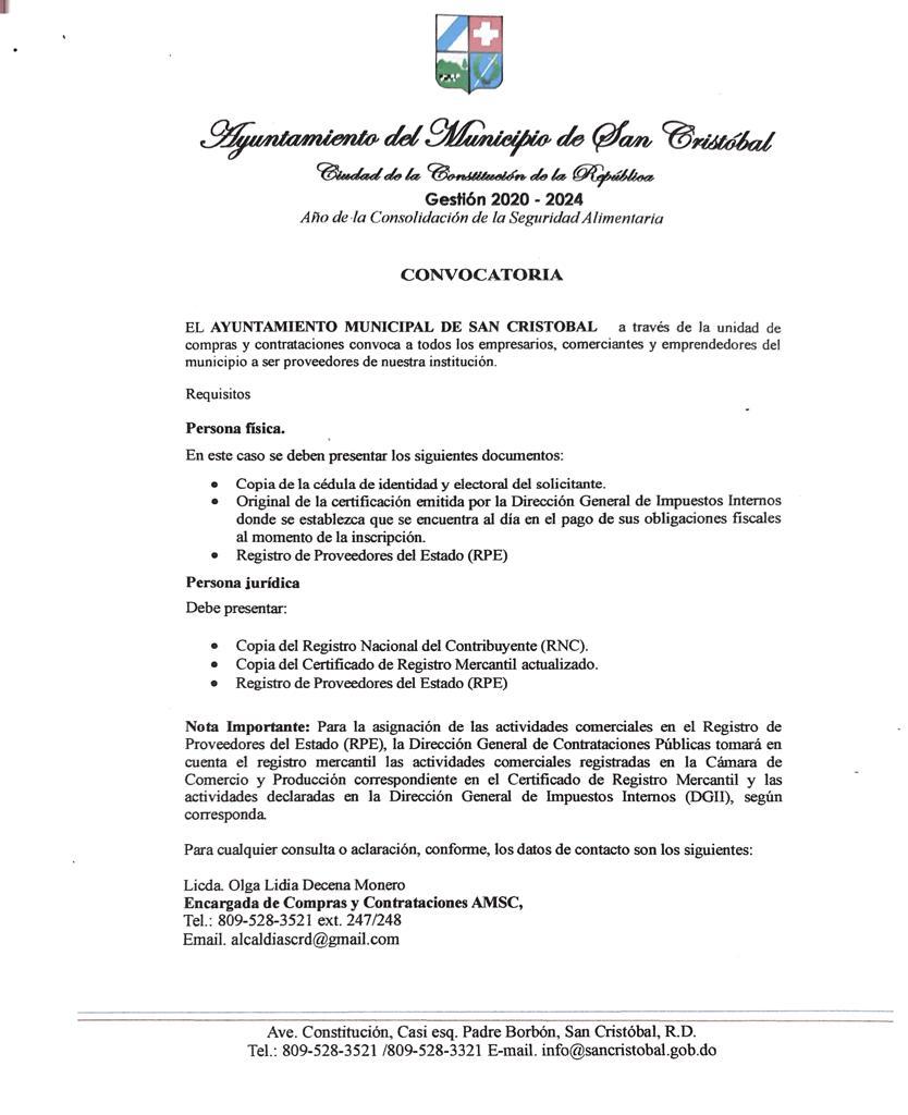 Ayuntamiento de San Cristóbal convoca a empresarios y comerciantes para proveedor municipal