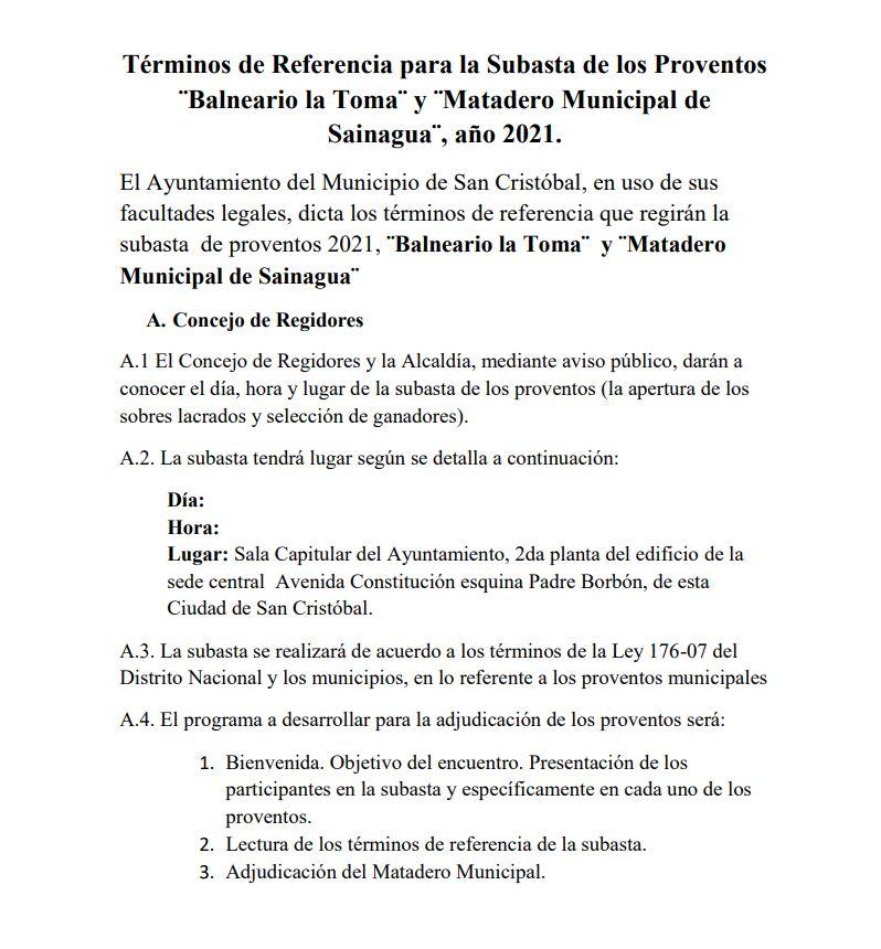 Términos de Referencia para la Subasta de los Proventos ¨Balneario la Toma¨ y ¨Matadero Municipal de Sainagua¨, año 2021.